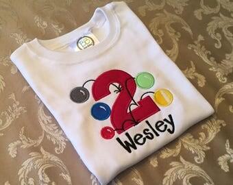 Bouncy Ball Birthday Shirt / Birthday Shirt / 2 year old shirt / Ball Birthday Shirt/ Birthday Party / Sewthern / Sewthern Creations