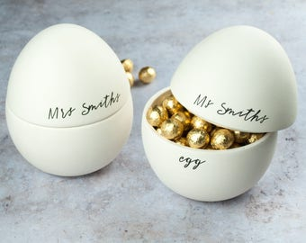 His And Her's Couple Personalised Easter Egg. Chocolate Filled Easter Egg
