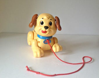 Fisher Price Pull Along Puppy Toy, Pull Along Dog, Vintage Toy,  Pull Along Toy, Happy Puppy, Vintage Toy Dog, Vintage Puppy, Retro Toy Dog