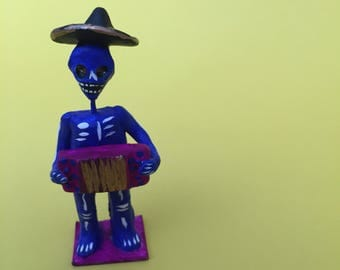 Handmade El Músico Figure with Acordeon // Day of the Dead Decoration // Dia de los Muertos Miniatures for Altar // Made in Mexico