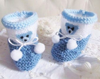 Blue and white booties for baby size newborn to 3 months