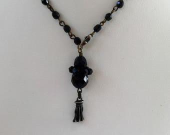 Vintage Jet Black Czech Crystal Pendant Necklace