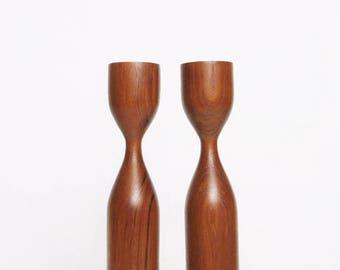 pair vintage mid-century danish modern sculptural teak wood candle holders