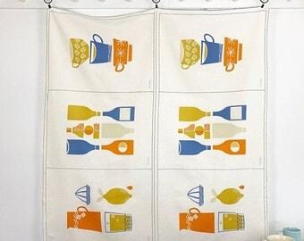 "20% Off Rachel, The British Invasion Line - Cloud9 Fabrics Kitchen Ware in Blue, Orange & Gold - 55 Percent Cotton/45 Linen, 24.5"" x 55"" Wid"