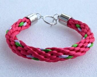 Bright purple Green Pink bracelet braided girl woman teen kumihimo