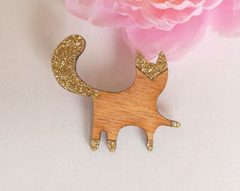Wooden cat paw in the air brooch