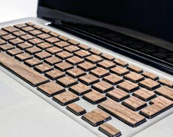 Real Wood Macbook Keyboard Stickers for Apple Mac book Air Pro 13 15 - Mac Keyboard Stickers - Mac Wood Skin - Walnut wood Mac book keyboard