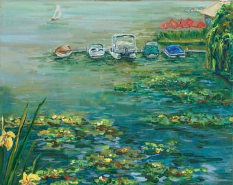 Monet At Reeds Lake, Waterlilies, Boats, Lake Life, Rose's Restaurant, East Grand Rapids, Reeds Lake Painting, Sail Boat, Gas Light Village