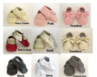 Sale...Baby Moccasins Genuine Soft Leather Baby Leather Moccasins Fringe Baby Moccs