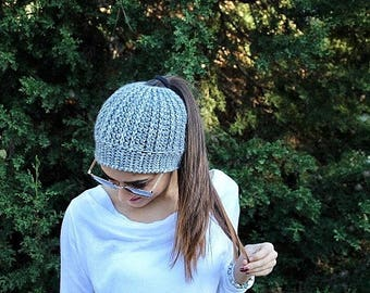 Adult Bun Beanie, Top Knot Beanie, Messy Bun Hat, Bun Hat, Messy Bun Beanie, Crochet Ponytail Hat, Bun Hat Knitted, Christmas Gift, Handmade