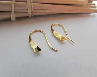 6 hook earring 12 x 20 mm gold metal - hole 1 mm-72.53