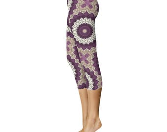 Capri Yoga Pants - Leggings for Women With Designs, Mandala Pattern Printed Leggings