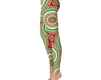 Christmas Leggings, Holiday Print Leggings, Red and Green Mandala Yoga Pants, Womens Printed Tights