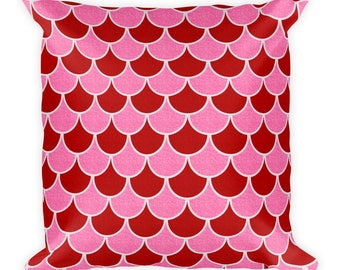 Valentine's Pillow, Red and Pink Valentine's Day Throw Pillow 18x18, Mermaid Scales Pillow, Decorative Cushion
