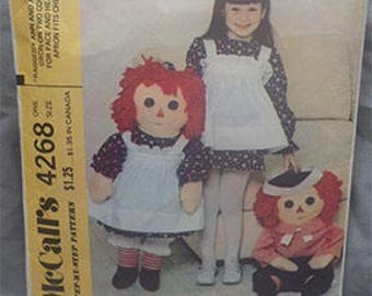 "Vintage (1974) McCalls 4268 36"" Raggedy Ann and Andy Pattern"