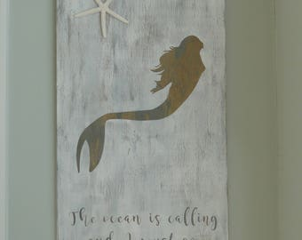 Mermaid sign | Mermaid decor | Coastal decor | Beach house