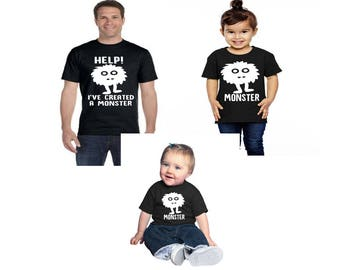 Monster- I've Created A Monster-Mommy Monster Shirts- Mommy and Me- Daddy and Me-Father's Day- infant and toddler t-shirts