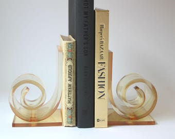 Vintage Lucite Bookends, Acrylic Bookends, Scroll Design