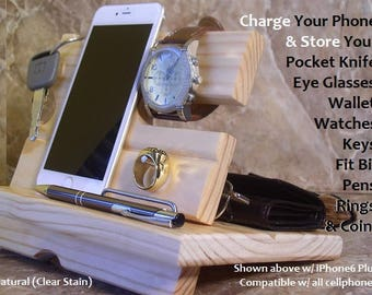 iPhone Docking Station, Wooden Cellphone Docking Station, Phone Charging Station, Men's Valet, Night Stand