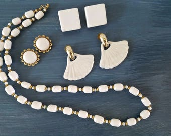 Stunning White Jewelry Set, Vintage Glass Beads, Beaded Necklace, Dangle Earrings