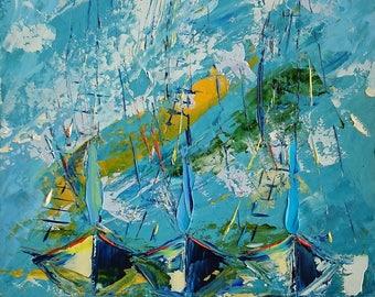 Boats; Original oil painting; framed