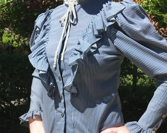 Vintage Striped Blouse with Tuxedo Collar and Ruffles