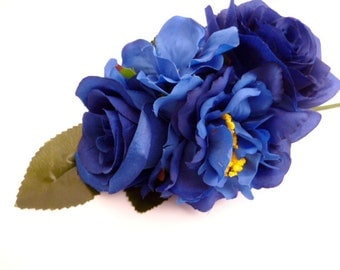 "Dark Blue Bouquet of artificial flowers_GNA00215/5648_Flowers_ floral ornaments_/ Blue of 25.5 cm / 10.03""_ pack 1 pcs"