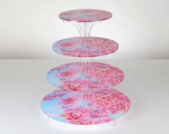 Flat Packable 4 Tier Pink Blossom Print Cupcake Stand
