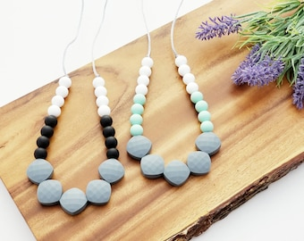 Teething Necklace for Mom, Modern Nursing Necklace, Chewable Jewelry, Baby Teether, Chew Necklace, Color Block  Combo