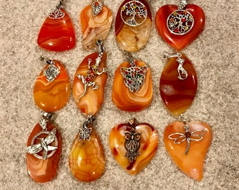 Various agate pendants with charms and Swarovski crystal accents