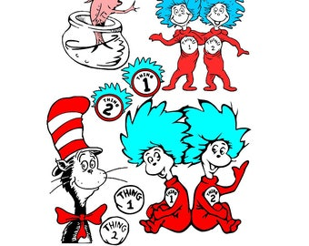 Dr Seuss svg, The Cat In The Hat SVG, cat svg,thing 1 svg, thing 2 svg, thing 1 and 2 svg, fish svg, kids svg, kids birthday svg, baby svg,