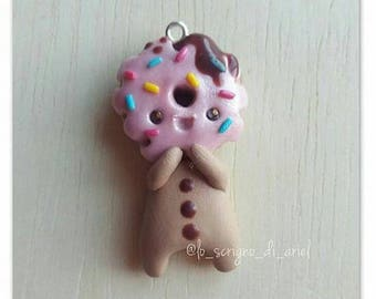 I love Donuts : cute happy donut baby boy - kawaii sweet polymer clay charm