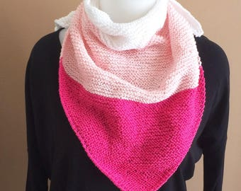 Shoulder scarf, shawl, hand warmers hand knitted pink cotton