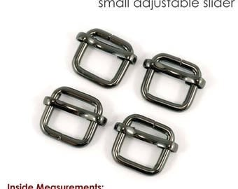 Strap Slider, Adjustable Sliders, Adjustable Purse Sliders, Strap Adjustable Hardware, Bag Strap hardware, Black Nickel Pack of 4
