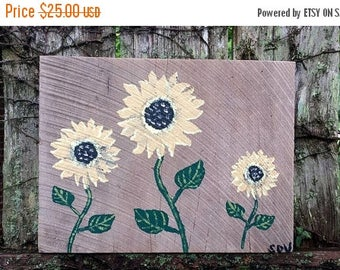 "SALE SUNFLOWERS Pretty Sun Flower Art Painted Reclaimed OAK Barn Wood Painting Scott D Van Osdol Garden Porch Home Wall Decor 11-3/4x9"" Sunf"