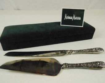 Godinger Silver Plated Neiman Marcus Cake and Pie Knife Serving Set Flowers Floral Motif Easter Wedding Bridal Receptions Luncheons