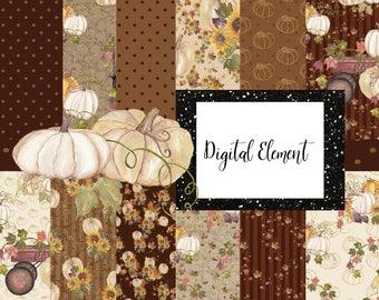 Fall Digital Papers, Pumpkin Digital Paper, Watercolor Pumpkins, Seamless Digital Paper, Fall Gingerbread Brown. No. P212