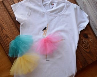 Summer outdoor White tshirt Top for woman  Ballerina top woman clothing Gift idea woman tulle skirt custom t-shirt  women tshirt