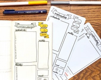 Daily Layout Tracing Card - Bullet Journaling Template Tracing Card
