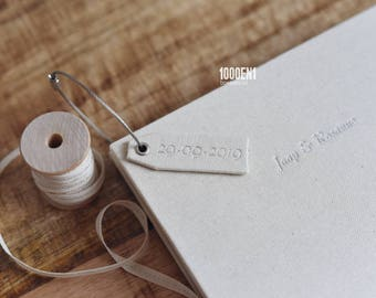 Guest book - natural linen - alternative guest book - personalized with letterpress - watercolor wedding - Gästebuch