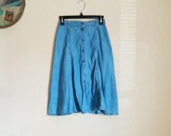 Vintage 90s Highwaisted Button Front Denim Skirt