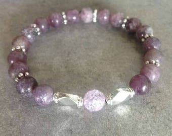 Please energized Bracelet well being, meditation, femininity, soft frosted purple quartz, rock crystal beads and silver