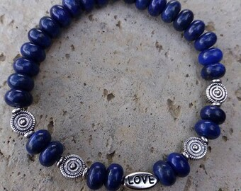 Please please lapis lazuli rondelle energized Bracelet, Pearl Love high quality