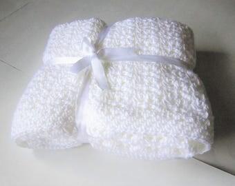FREE SHIPPING*  All White Baby Crochet Blanket, White Crochet Afghan, Baby Baptism, Baby Shower Gift, Gift for Baby Girl, Gift for Baby Boy