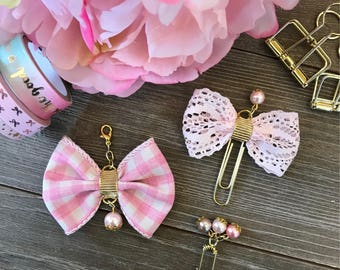 Pink Gingham with Gold Bow Planner Clip TN Charm