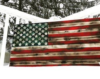 American flag| Wood flag| distressed| 40x24| handmade wall decor| Rustic|