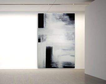 Abstract Minimal Modern Art black & white  XXL extra large wall art canvas handpainted original minimalist art heavy texture