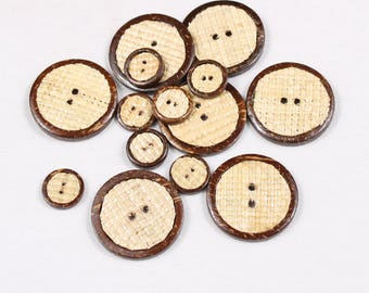 5 buttons 15mm or 33mm, woven straw covered with coconut, 2 holes (1047 am)