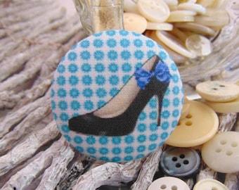 1 button x 28mm black shoe BOUT1 fabric