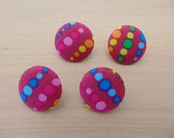 4 x buttons 19mm TOUR12 multicolored dots fabric